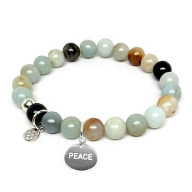 Lucy Green Agate Peace Charm Stretch Bracelet, Sterling Silver