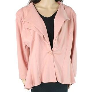 Hybrid & Company Women's Topper Jacket Pink Size 3X Plus One Button