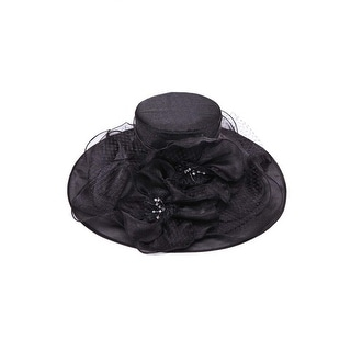 Womens Bucket Sun Hat w/ Lace Floral Veil Bow