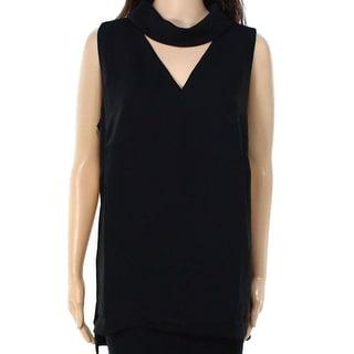 INC NEW Black Deep Women's Size 4 V-Neck Cutout Collar Tank Blouse
