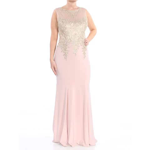 09fd6aa4aff3e XSCAPE Womens Gold Gown Embroidered Mesh Sleeveless Jewel Neck Full-Length  Evening Dress Size:
