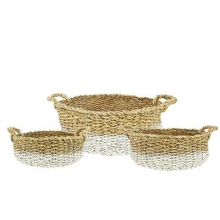 Set of 3 Seaside Treasures Decorative Natural and White Seagrass Round Storage Baskets 25""