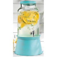 Palais Glassware High Quality Mason Jar Beverage Dispenser - Traditional Tin Screw Off Lid - 1.5 Gallon Capacity