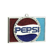 "3"" Decorative Silver Plated Pepsi Globe Logo Christmas Ornament with European Crystals"