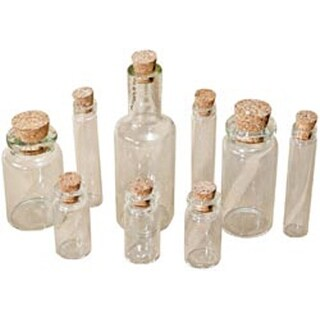 "Clear - Idea-Ology Corked Glass Vials 1.25"" To 3"" 9/Pkg"