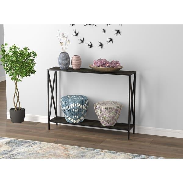 Console Table 39 5l Dark Grey Wood 1 Shelf Black Metal 39 5 X 9 X 29 Overstock 31748749