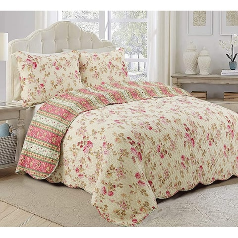 Cozy Line Charleston Cottage Floral Reversible Cotton 3-piece Quilt Set