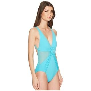 Michael  Kors  Layered Illusion V-Neck One-Piece Swimsuit, Turquoise 10