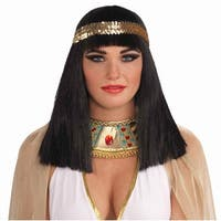 Black Cleopatra Costume Wig W/Headband Adult