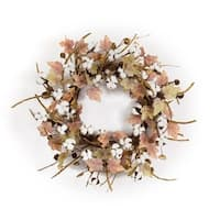 Set of 2 Pink and Brown Christmas Decorative Floral Cotton/Leaf Wreath 24""