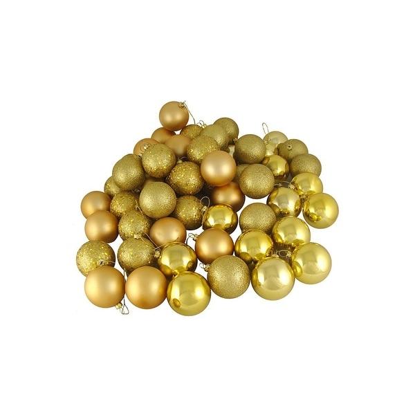 "180ct Vegas Gold Shatterproof 4-Finish Christmas Ball Ornaments 2.5"" (60mm)"