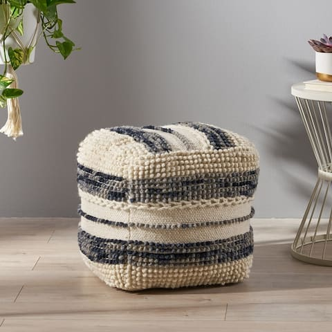 Hambo Contemporary Wool and Cotton Pouf Ottoman by Christopher Knight Home