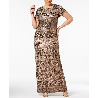 Betsy & Adam Womens Plus Embellished Gown Dress