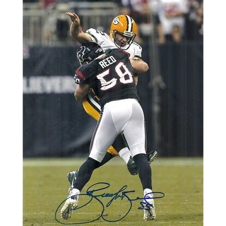 Brooks Reed Autographed Houston Texans 8x10 Photo hitting Rodgers