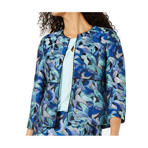 Kasper Womens Jacket Blue Size 16 Jacquard Knit Open-Front Jewel-Neck