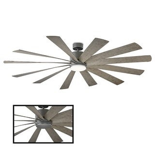 Windflower 80 Inch 12 Blade Indoor / Outdoor Smart Ceiling Fan with Six Speed DC Motor and LED Light.