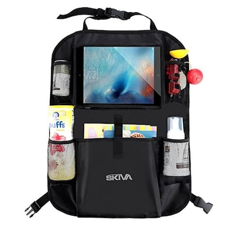 Skiva Car Back Seat Organizer Multi-Pocket Travel Storage With Touch Screen iPad Tablet Books Toys Holder and more