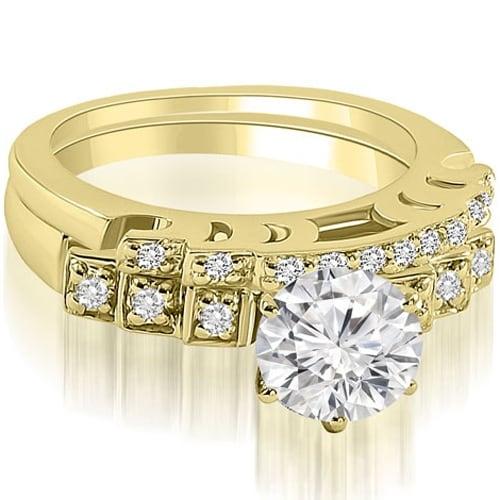 1.00 cttw. 14K Yellow Gold Vintage Round Cut Diamond Bridal Set
