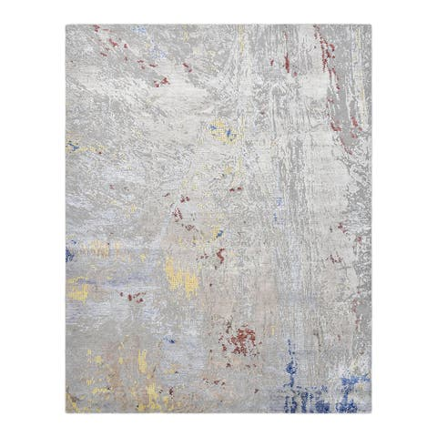 """Modern, One-of-a-Kind Hand-Knotted Area Rug - Light Gray, 8' 0"""" x 10' 1"""" - 8' x 10'"""