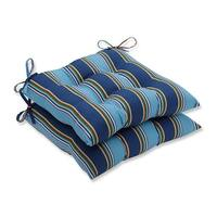 """Set of 2 Blue Awning Stripe Outdoor Patio Wrought Iron Tufted Seat Cushions 19"""" - Green"""