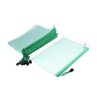 Plastic Zip Up Office School A4 Size Paper Document File Storage Bag Green 12pcs