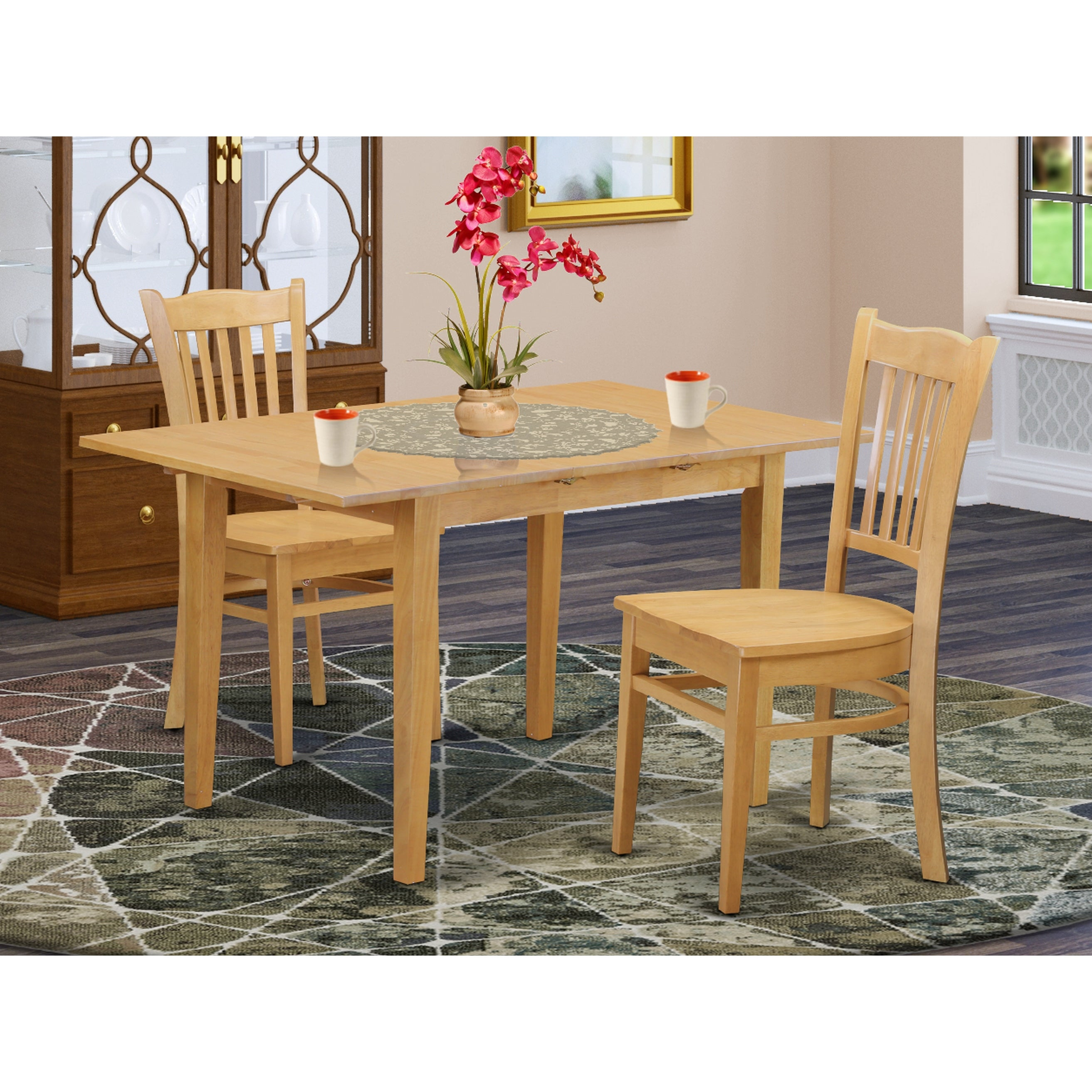NOGR-OAK-W Dining room set - Dinette table and 9 up to 9 kitchen dining  chairs