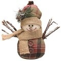 "5.5"" Green Brown and Red Plaid Snowman with Hat and Scarf Table Top Christmas Figure - Thumbnail 0"