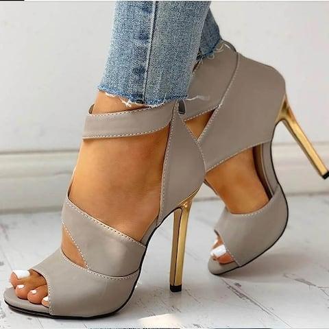 Stylish Peep Toe Zipper Chunky Heel Patchwork Thin Shoes