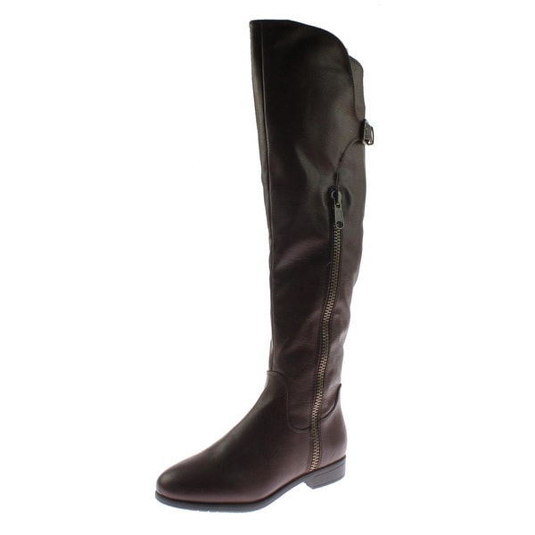 Rialto Womens First Row Riding Boots Faux Leather Knee-High - 6 medium (b,m)