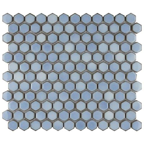 SomerTile Hudson 1 in. Hex Frost Blue 13-1/4 in. x 11-7/8 in. x 5mm Porcelain Mosaic Tile (10 Tiles/11.15 sqft.)