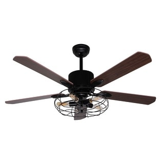 Shop 52 Inch Brown Wood 5 Blades Cage Ceiling Fan With