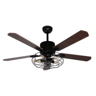 52-inch Brown Wood 5-Blades Cage Ceiling Fan with Remote - 52""