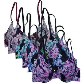 Women's 6 Pack Laser Cut Floral Leopard/Cheetah Print Push Up Bras