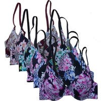 SET 3068 Women's Floral Print Laser Cut Push Up Bras (6 Pack)