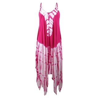 Raviya Women's Tie-Dyed Handkerchief-Hem Maxi Dress Cover-Up