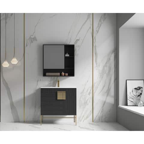 "Alma Bulanka 32"" Bathroom Vanity Dawn grey Finish , Golden Brass Hardware"