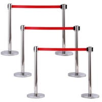 Costway 6Pcs Stanchion Posts Queue Pole Retractable Red Belt Crowd Control Barrier
