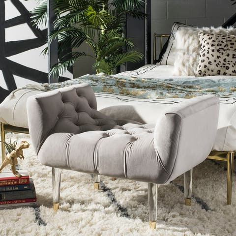 """Safavieh Couture Eugenie Tufted Velvet Acrylic Bench- Pale Taupe / Gold - 34.8""""x21.3""""x24.4"""""""