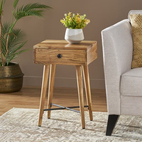 Westby Mid-Century Modern Handcrafted Acacia Wood Side Table with Drawer by Christopher Knight Home