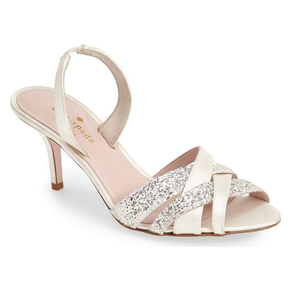 Kate Spade NEW Ivory Sasha Shoes Size 8M Satin Slingbacks Sandals