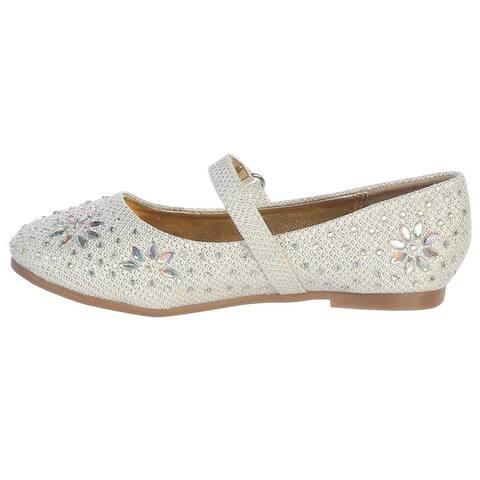 Little Girls Ivory Glitter Floral Stud Flat Shoes 5-10 Toddler