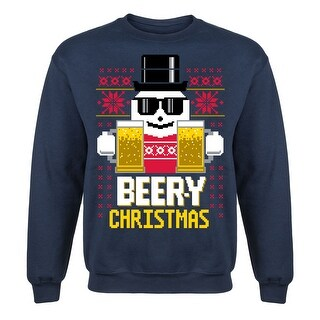 Beer-Y Christmas Ugly Adult Crew Fleece Pullover Sweatshirt