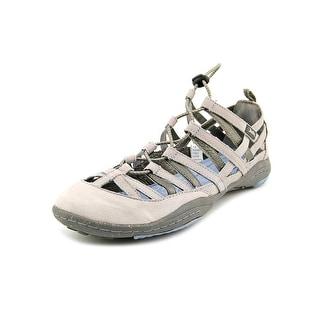 Jambu Bangle-Barefoot Women Round Toe Leather Gray Sport Sandal
