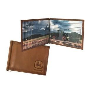 John Deere Western Wallet Mens Front Pocket Money Clip Tan 4080000 - One size
