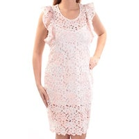 12989e445c83c TOMMY HILFIGER Womens Pink Lace Floral Cap Sleeve Jewel Neck Above The Knee  Shift Dress Size