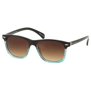 Perry Ellis Mens Plastic Sunglasses Brown Turq Stripe PE37-2, Includes Perry Ellis Pouch, 100% UV Protection