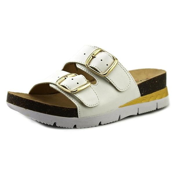 Rialto Farina Women Open Toe Synthetic White Slides Sandal