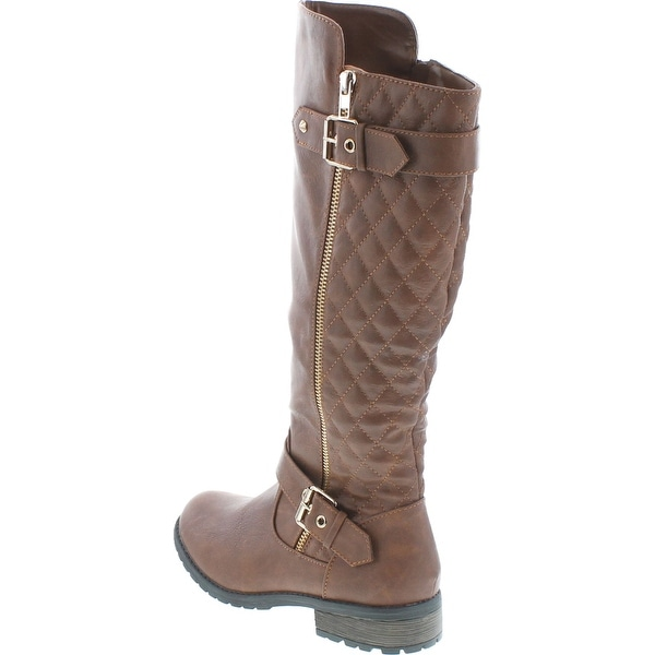 Forever Link Womens MANGO-21 Quilted Zipper Accent Riding Boots
