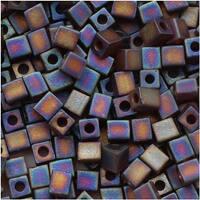 Miyuki 4mm Glass Cube Beads 'Transparent Frosted Dk Topaz AB' 134FR 10 Grams