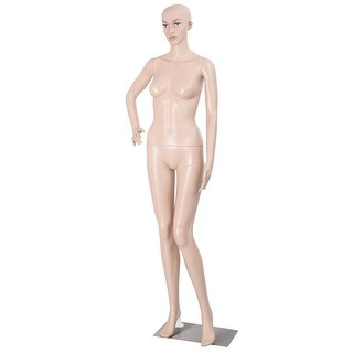 Costway Female Mannequin Plastic Realistic Display Head Turns Dress Form w/ Base
